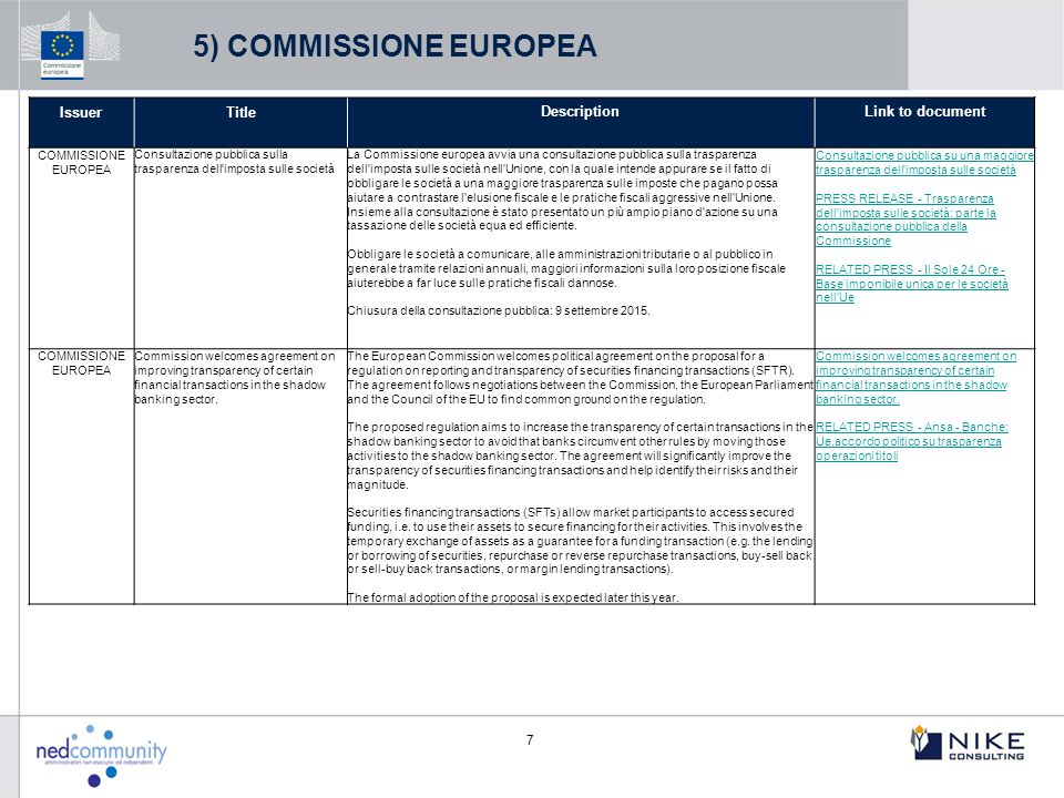 5) COMMISSIONE EUROPEA Issuer Title Description Link to document