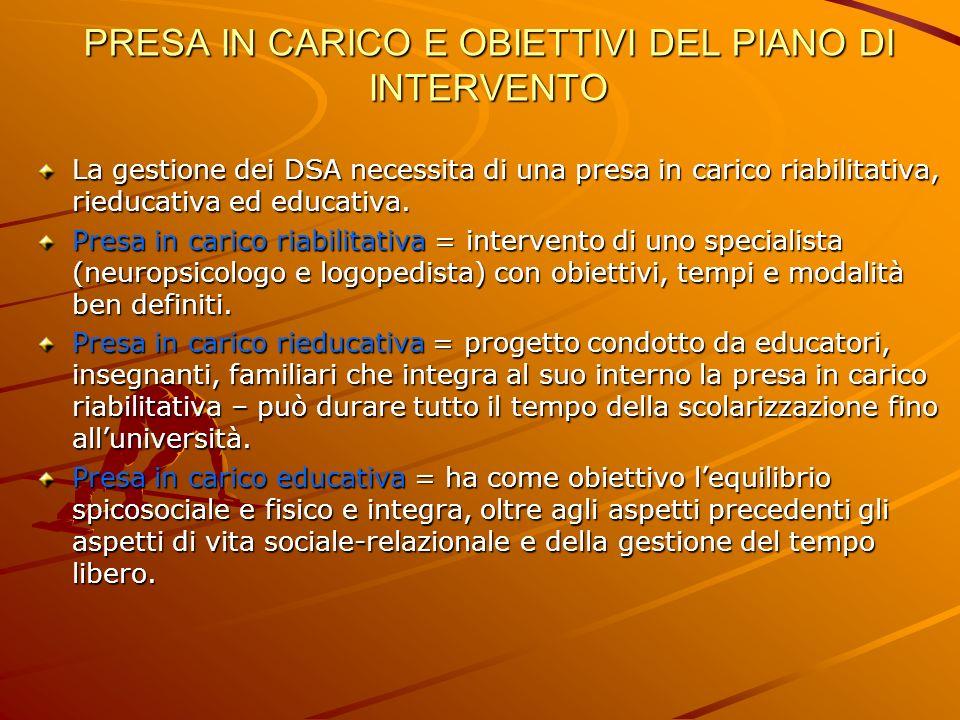 PRESA IN CARICO E OBIETTIVI DEL PIANO DI INTERVENTO