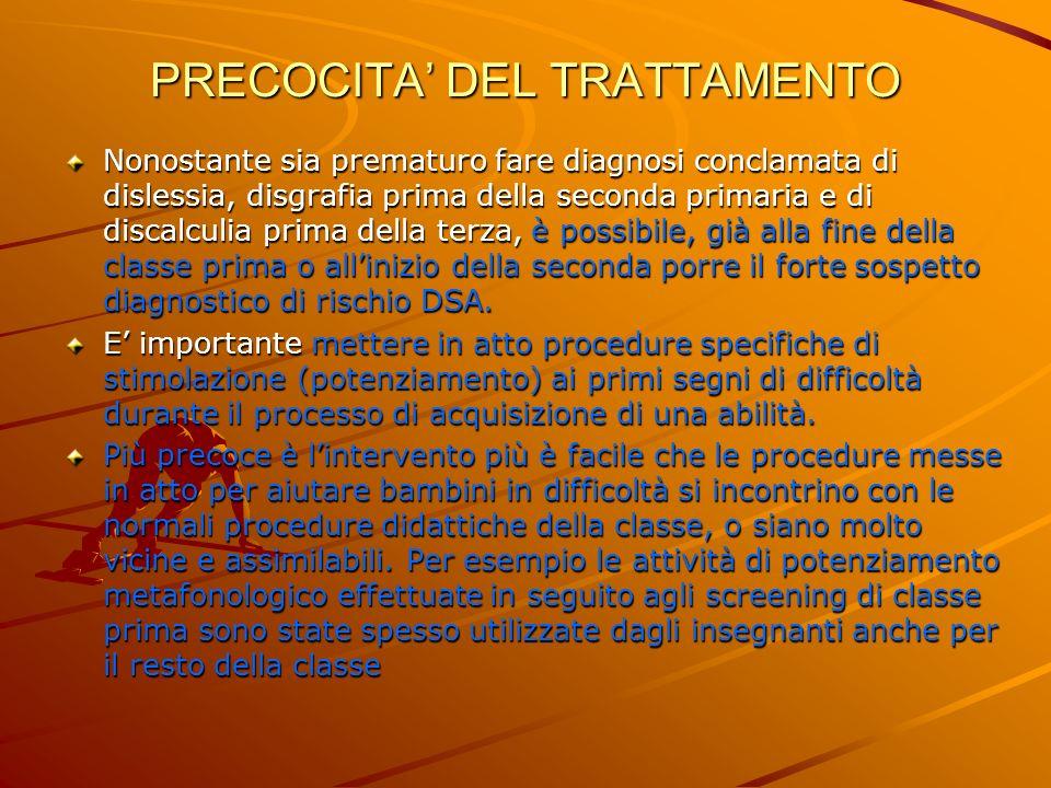 PRECOCITA' DEL TRATTAMENTO