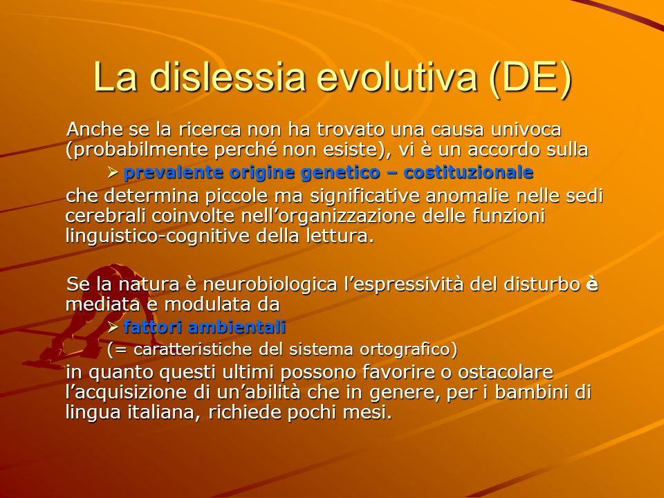 La dislessia evolutiva (DE)