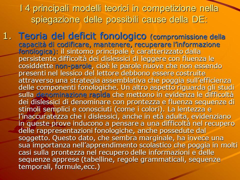 I 4 principali modelli teorici in competizione nella spiegazione delle possibili cause della DE: