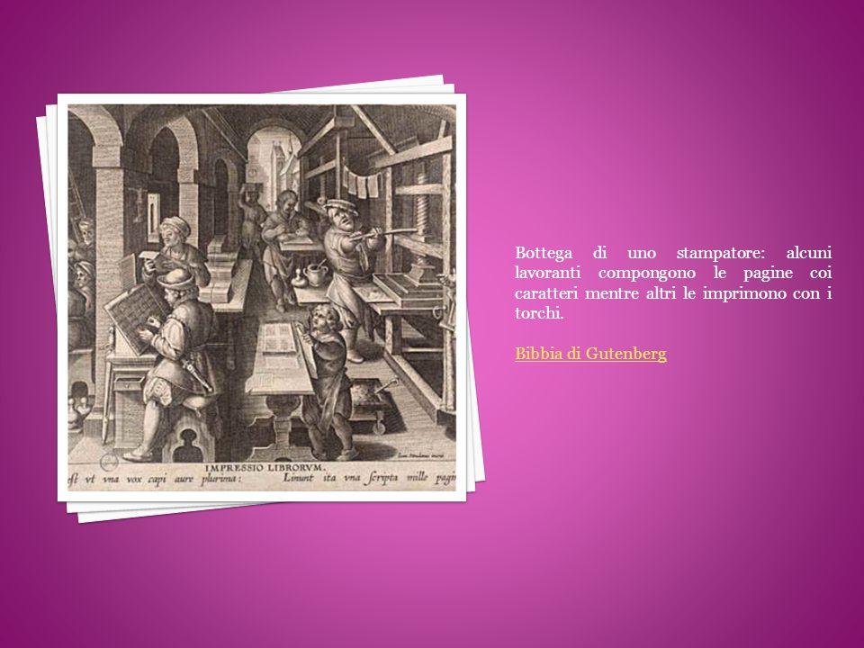 Bottega di uno stampatore: alcuni lavoranti compongono le pagine coi caratteri mentre altri le imprimono con i torchi.
