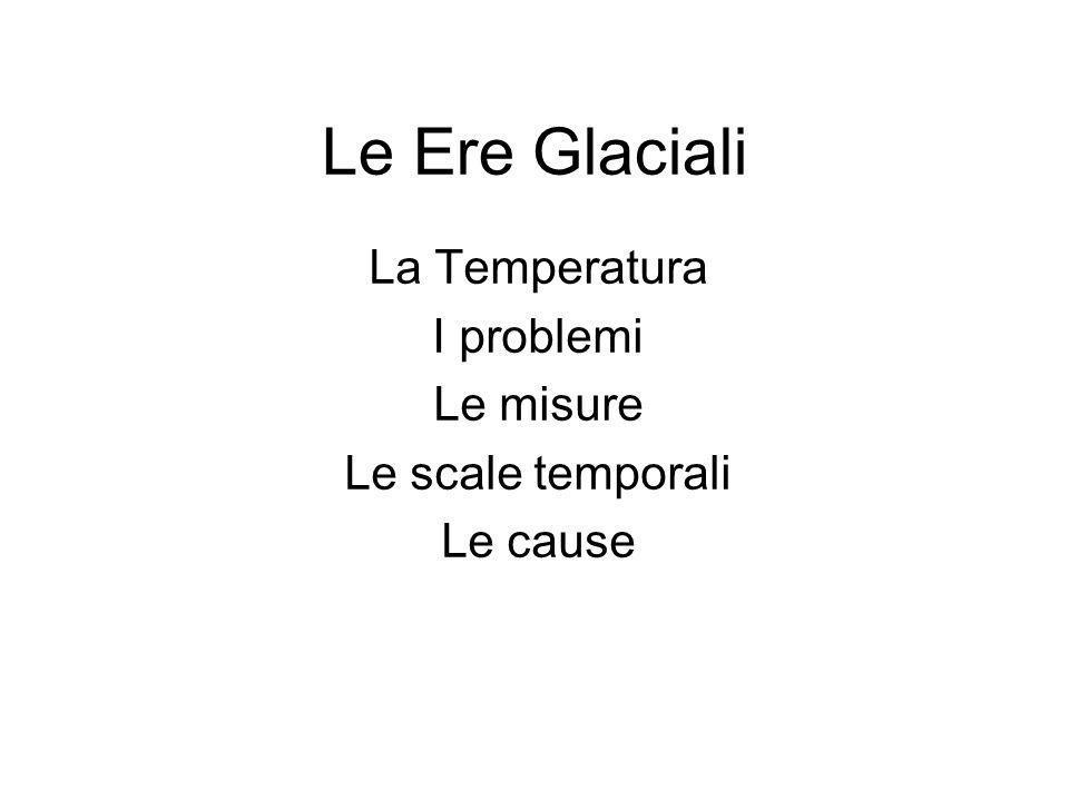 La Temperatura I problemi Le misure Le scale temporali Le cause