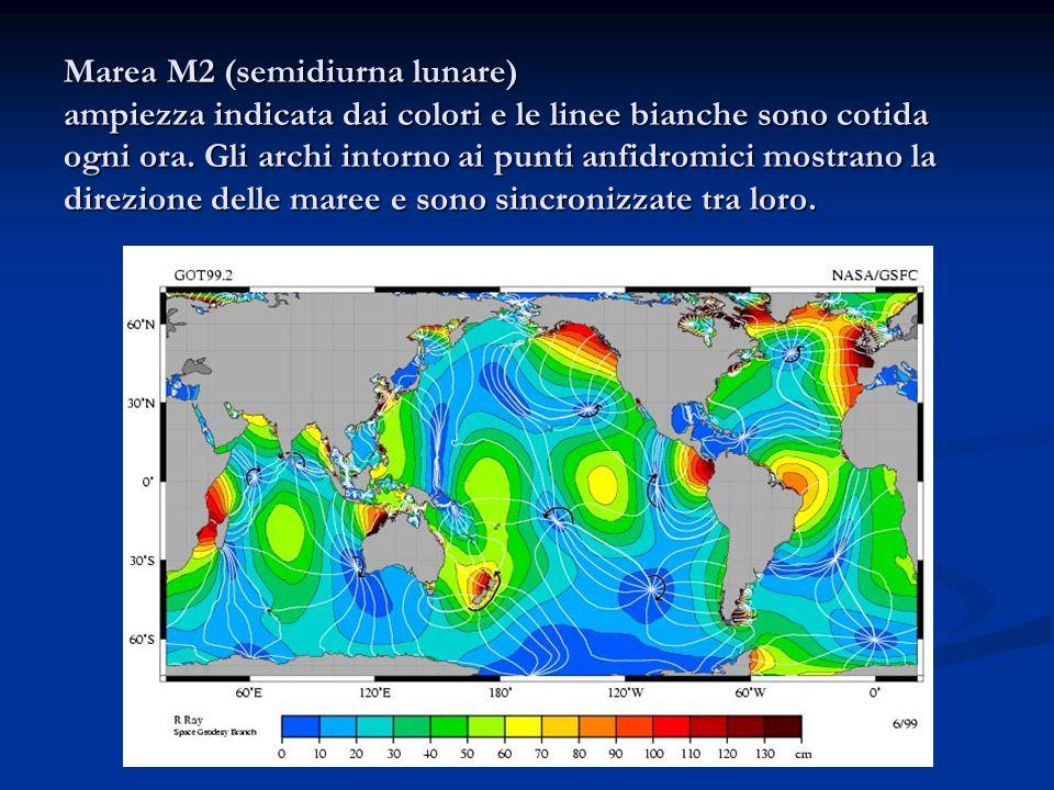 Marea M2 (semidiurna lunare) ampiezza indicata dai colori e le linee bianche sono cotida ogni ora.