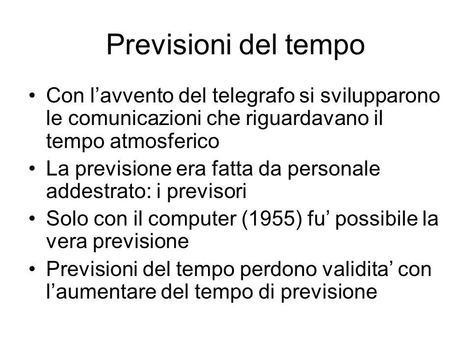 Previsioni del tempo Con l'avvento del telegrafo si svilupparono le comunicazioni che riguardavano il tempo atmosferico.