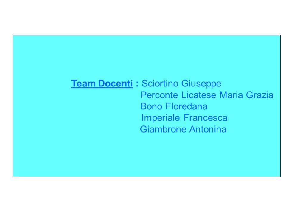 Team Docenti : Sciortino Giuseppe Perconte Licatese Maria Grazia