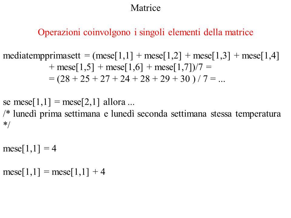 Operazioni coinvolgono i singoli elementi della matrice