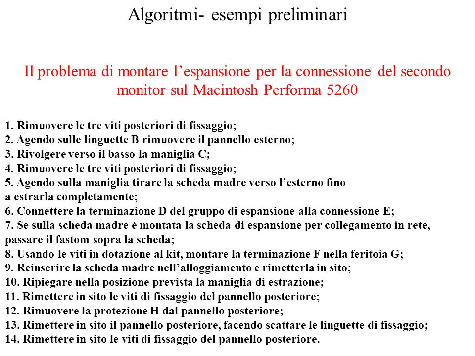 Algoritmi- esempi preliminari