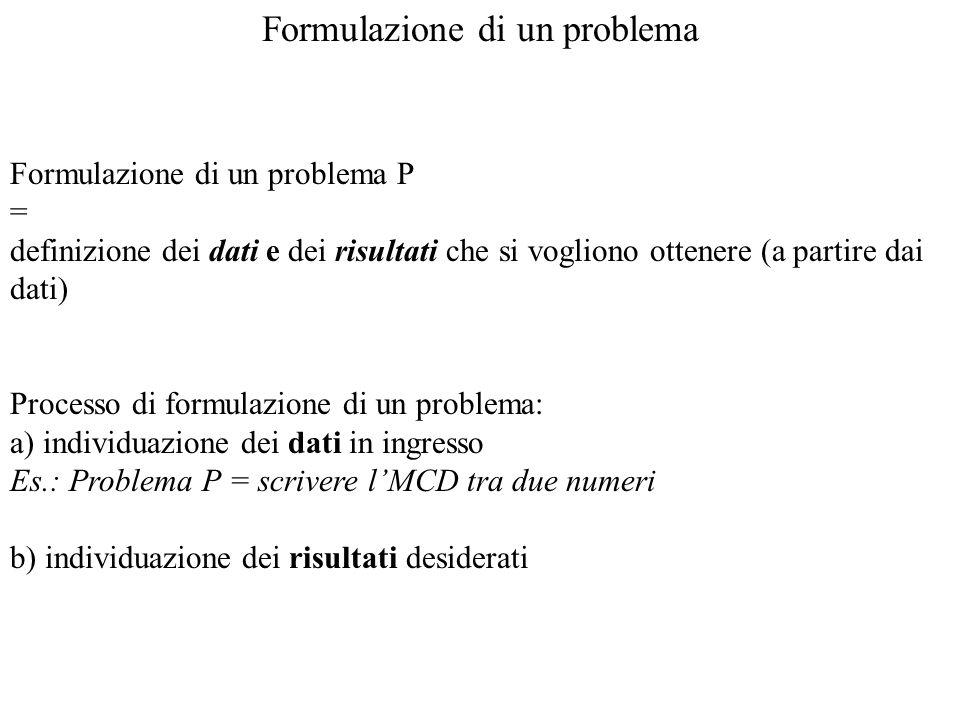 Formulazione di un problema