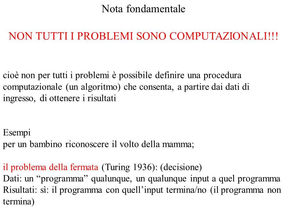 NON TUTTI I PROBLEMI SONO COMPUTAZIONALI!!!