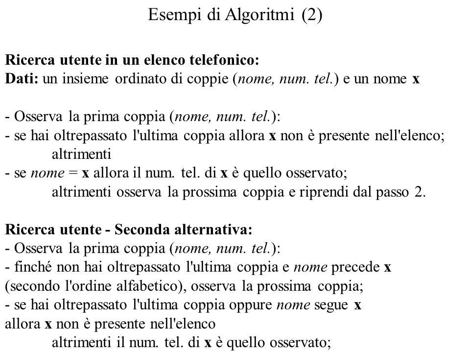 Esempi di Algoritmi (2) Ricerca utente in un elenco telefonico: