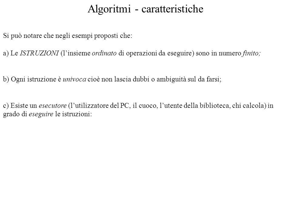 Algoritmi - caratteristiche