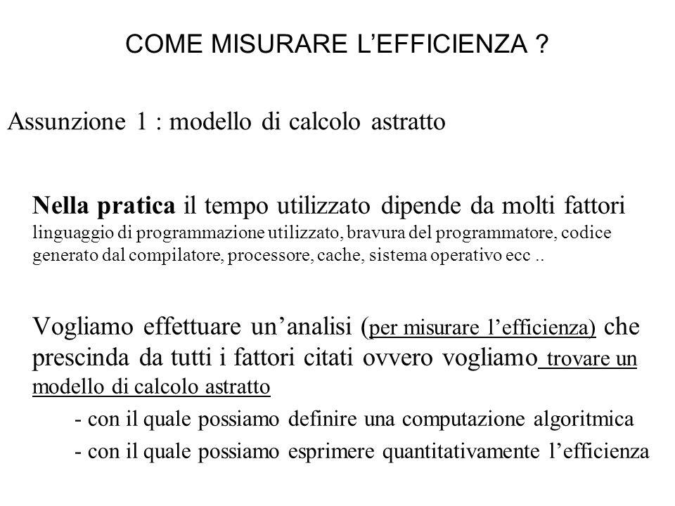 Assunzione 1 : modello di calcolo astratto