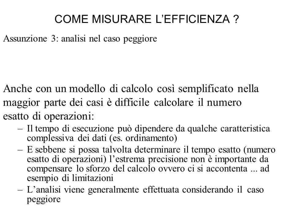 Assunzione 3: analisi nel caso peggiore