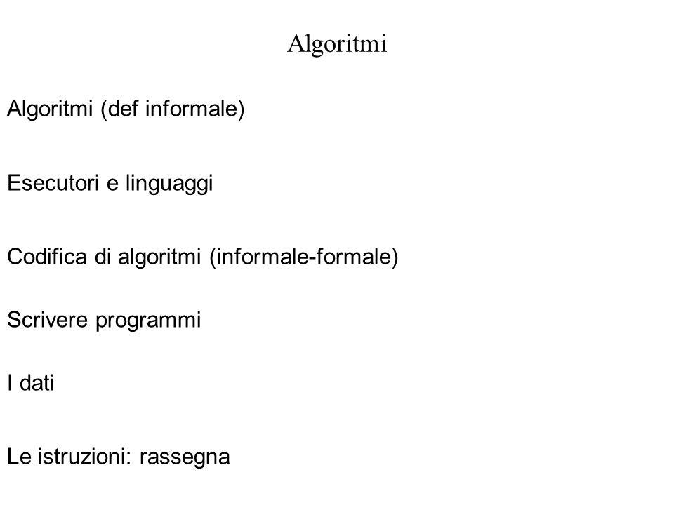 Algoritmi Algoritmi (def informale) Esecutori e linguaggi