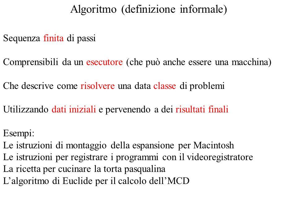Algoritmo (definizione informale)