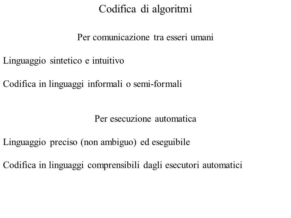 Codifica di algoritmi Per comunicazione tra esseri umani
