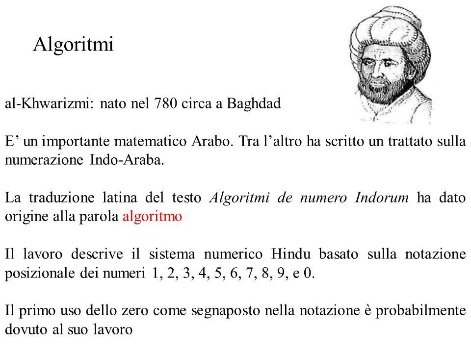 Algoritmi al-Khwarizmi: nato nel 780 circa a Baghdad