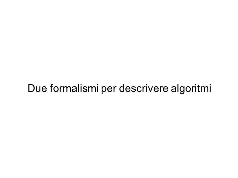 Due formalismi per descrivere algoritmi