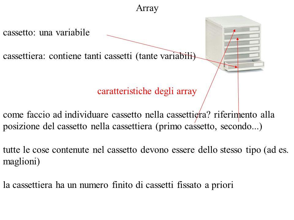 caratteristiche degli array