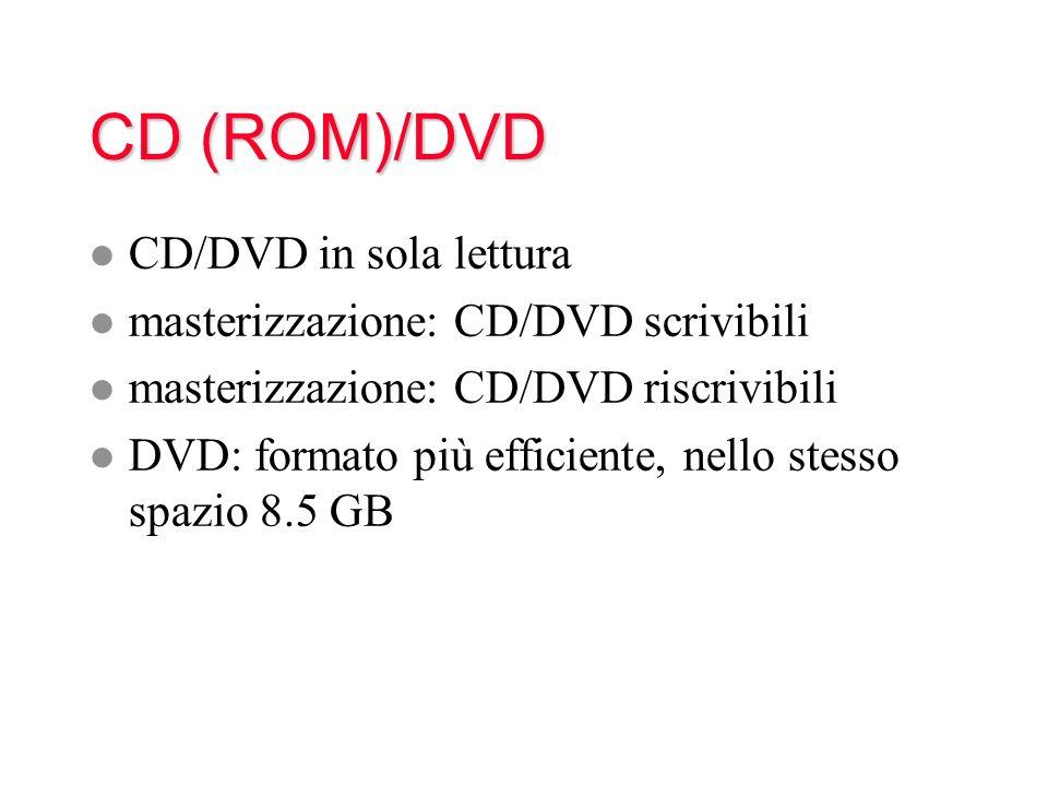 CD (ROM)/DVD CD/DVD in sola lettura masterizzazione: CD/DVD scrivibili