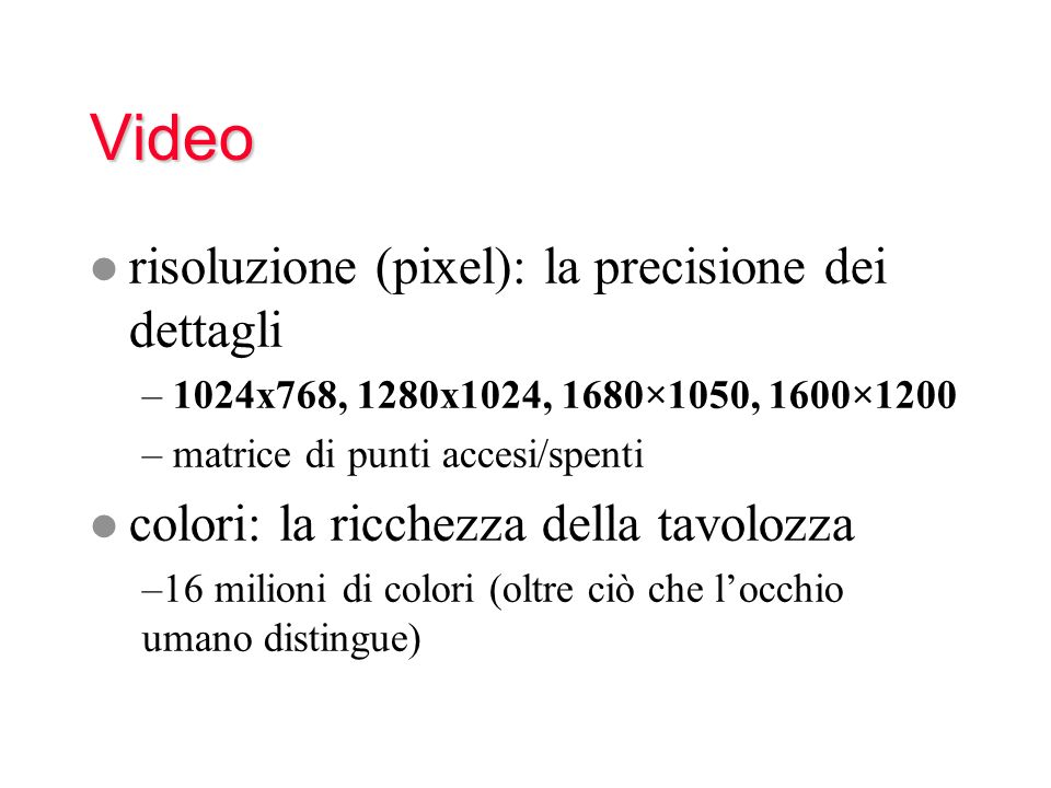 Video risoluzione (pixel): la precisione dei dettagli