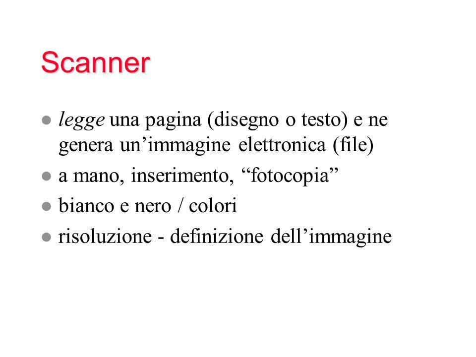 Scanner legge una pagina (disegno o testo) e ne genera un'immagine elettronica (file) a mano, inserimento, fotocopia