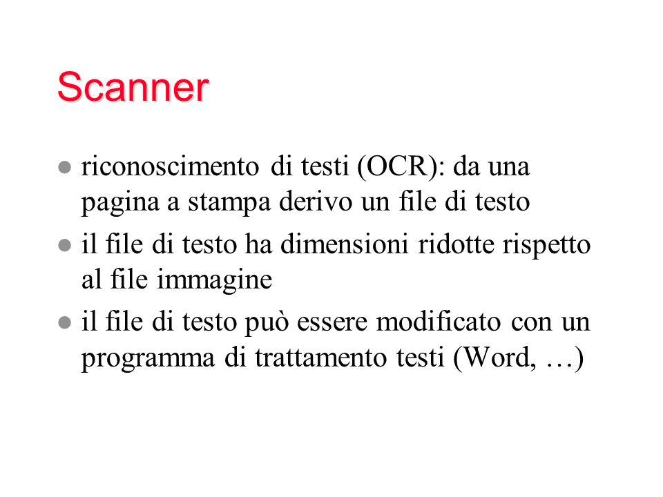 Scanner riconoscimento di testi (OCR): da una pagina a stampa derivo un file di testo.