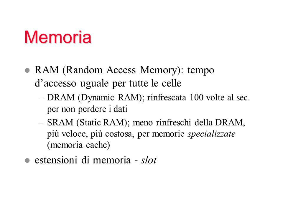 Memoria RAM (Random Access Memory): tempo d'accesso uguale per tutte le celle.