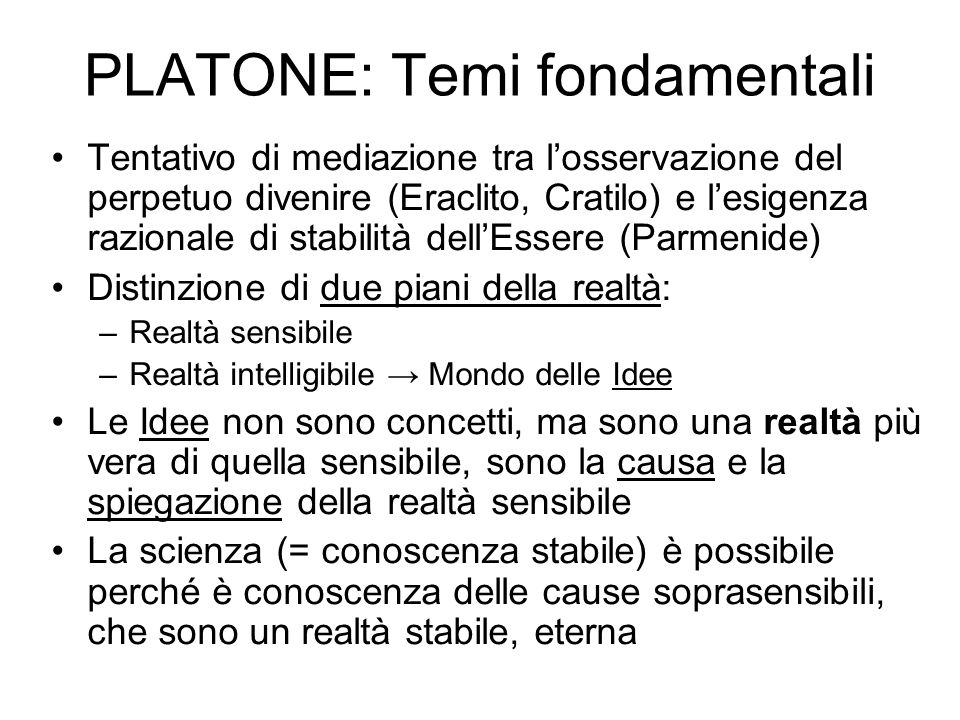 PLATONE: Temi fondamentali