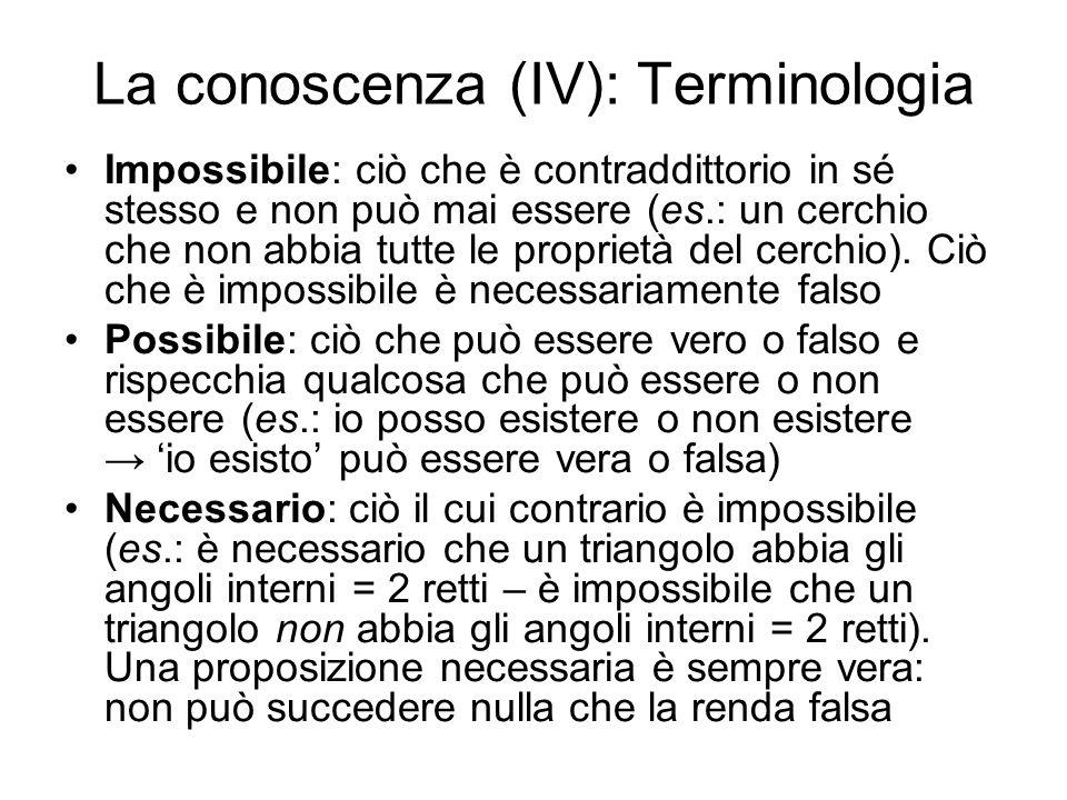 La conoscenza (IV): Terminologia
