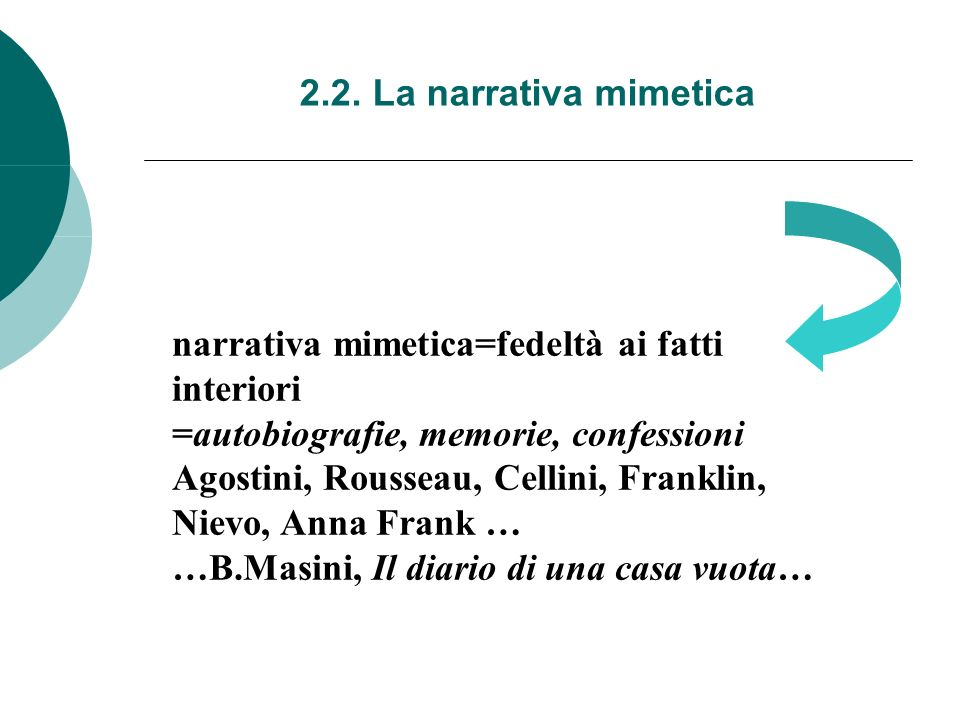 2.2. La narrativa mimetica narrativa mimetica=fedeltà ai fatti. interiori. =autobiografie, memorie, confessioni.