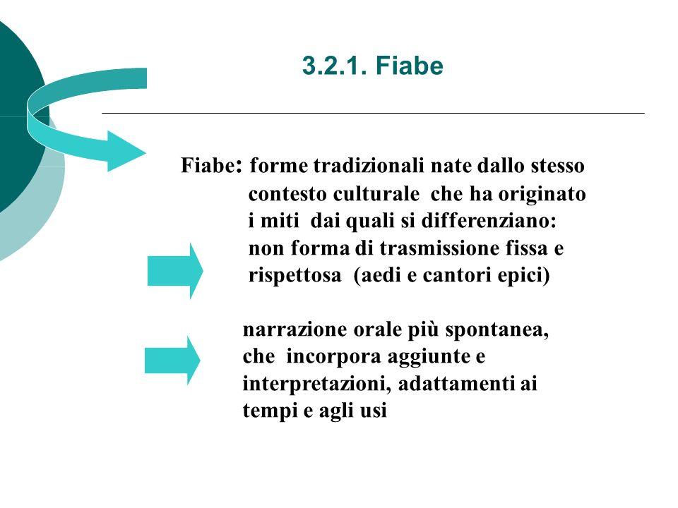 3.2.1. Fiabe Fiabe: forme tradizionali nate dallo stesso