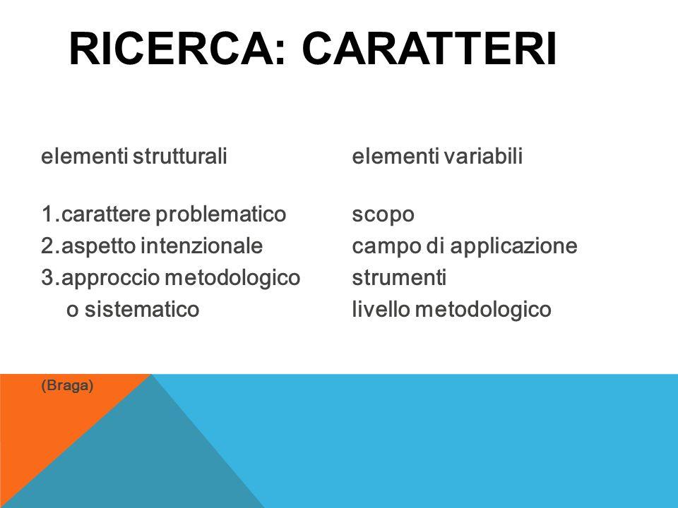 Ricerca: caratteri elementi strutturali 1.carattere problematico