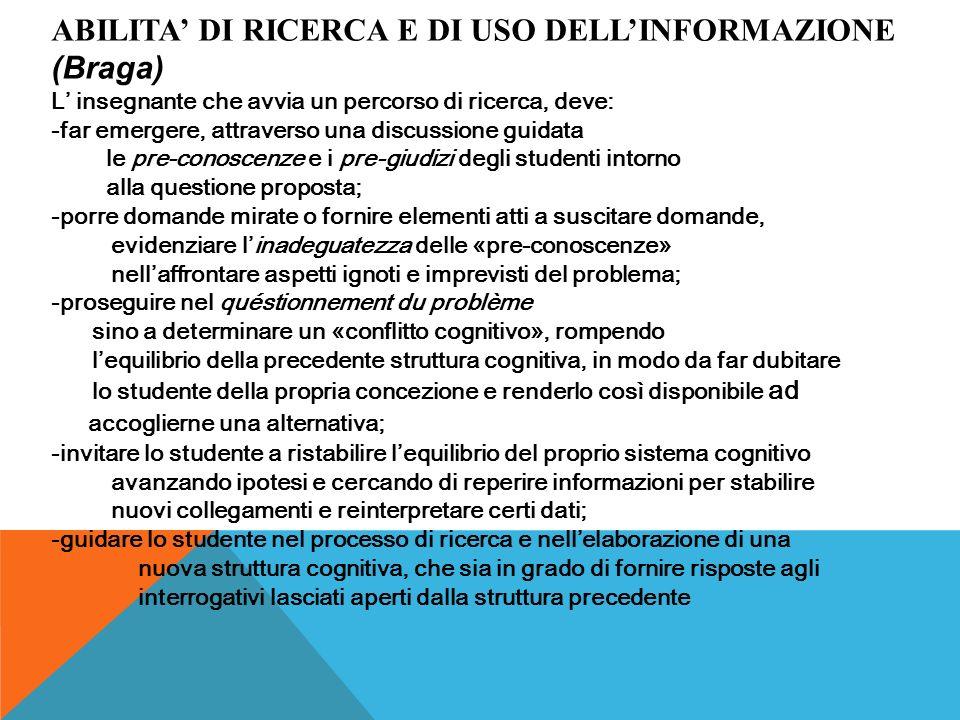 ABILITA' DI RICERCA E DI USO DELL'INFORMAZIONE (Braga)