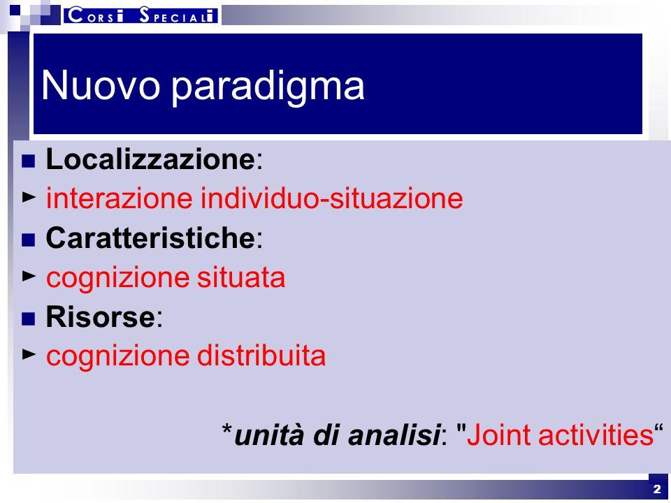 Nuovo paradigma Localizzazione: ► interazione individuo-situazione