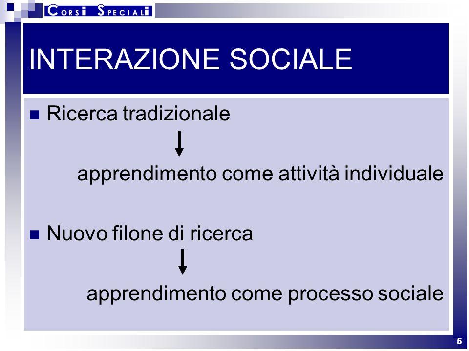 INTERAZIONE SOCIALE Ricerca tradizionale