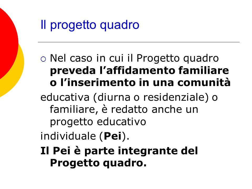 Il progetto quadro Nel caso in cui il Progetto quadro preveda l'affidamento familiare o l'inserimento in una comunità.