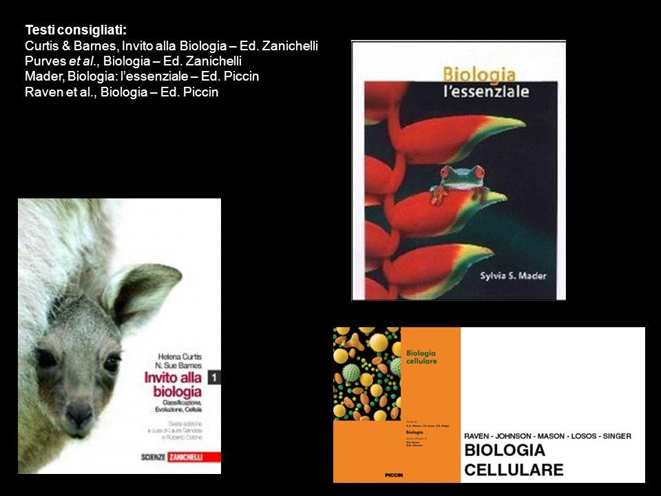 Testi consigliati: Curtis & Barnes, Invito alla Biologia – Ed. Zanichelli. Purves et al., Biologia – Ed. Zanichelli.