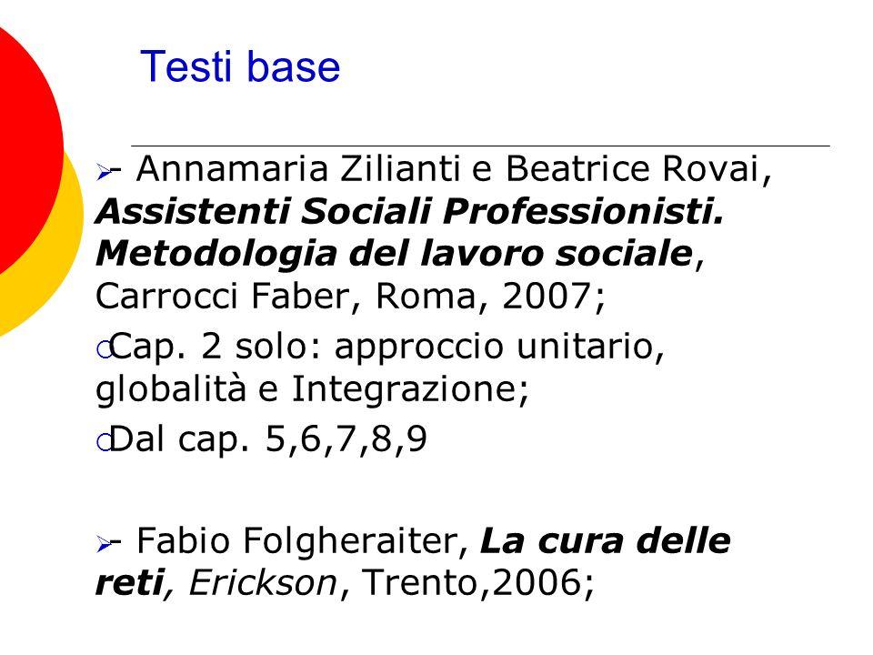 Testi base- Annamaria Zilianti e Beatrice Rovai, Assistenti Sociali Professionisti. Metodologia del lavoro sociale, Carrocci Faber, Roma, 2007;