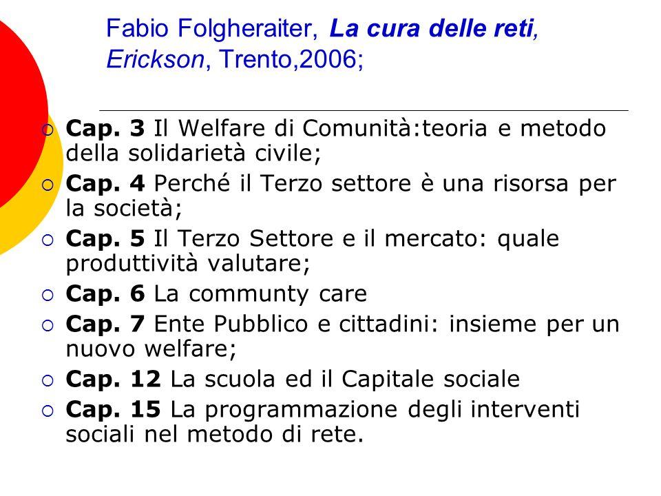 Fabio Folgheraiter, La cura delle reti, Erickson, Trento,2006;