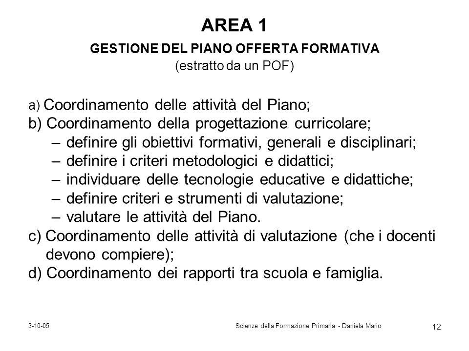 AREA 1 GESTIONE DEL PIANO OFFERTA FORMATIVA (estratto da un POF)