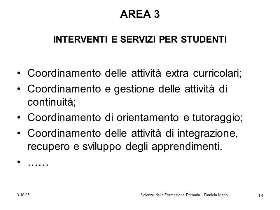 AREA 3 INTERVENTI E SERVIZI PER STUDENTI