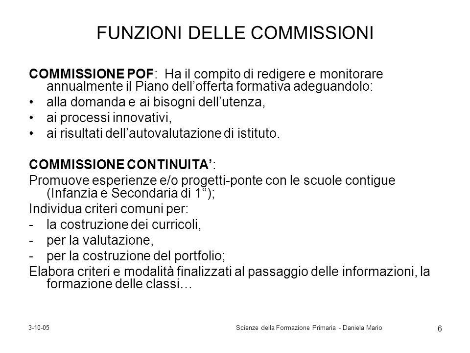 FUNZIONI DELLE COMMISSIONI