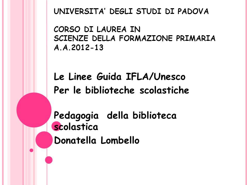 Le Linee Guida IFLA/Unesco Per le biblioteche scolastiche