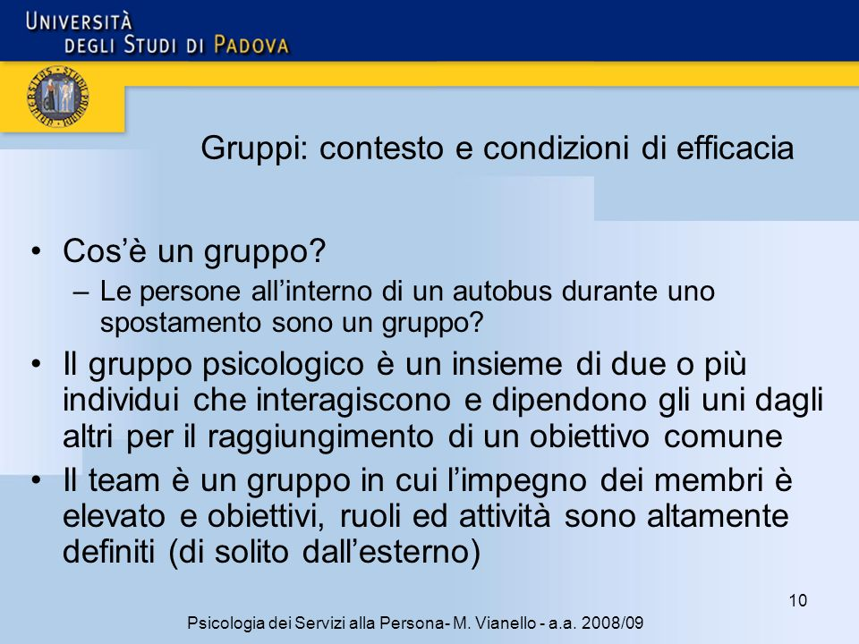Gruppi: contesto e condizioni di efficacia