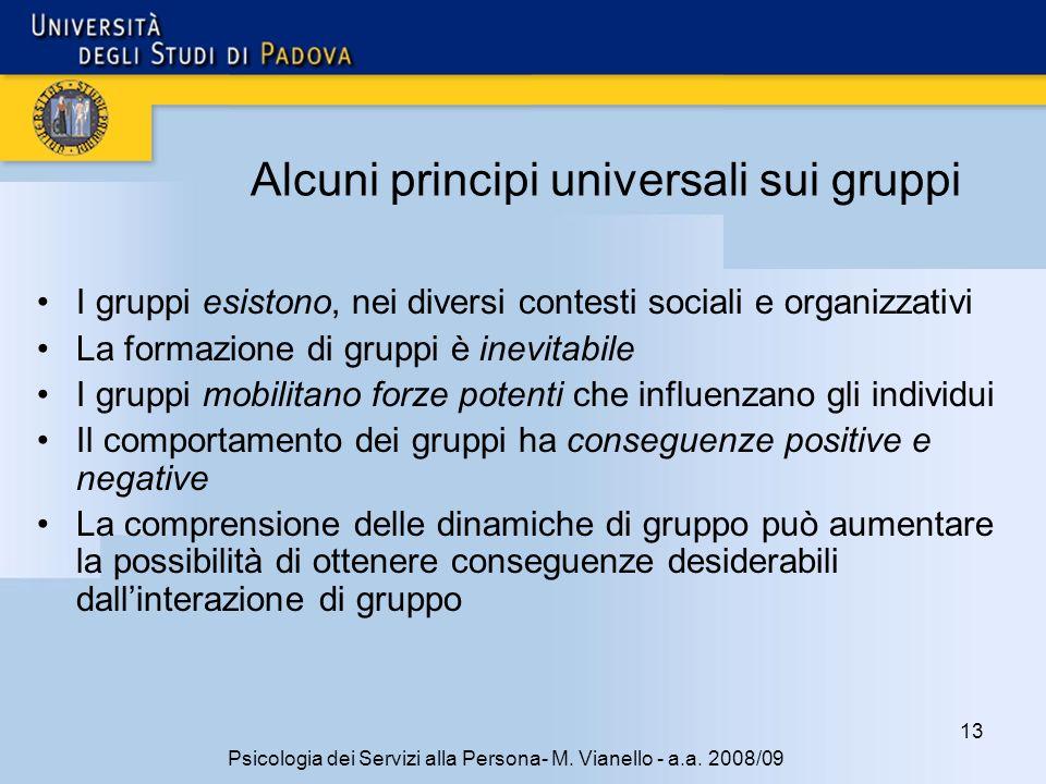 Alcuni principi universali sui gruppi