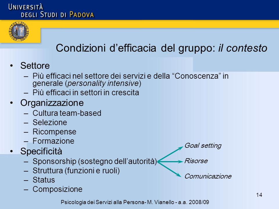 Condizioni d'efficacia del gruppo: il contesto