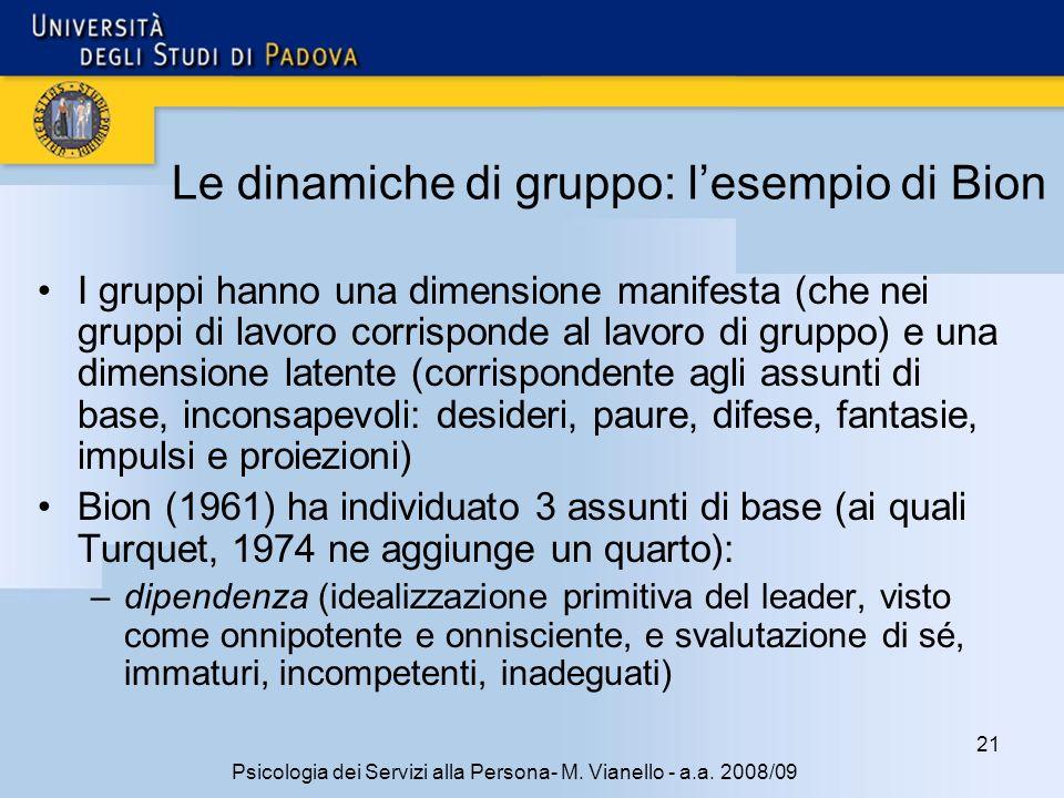 Le dinamiche di gruppo: l'esempio di Bion