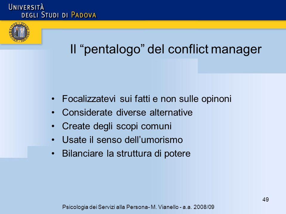 Il pentalogo del conflict manager